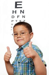 Little Boy Happy with Glasses at Optometrist's Office in Las Vegas